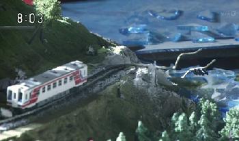 あまちゃん、震災での奇跡の車両、ジオラマ.png